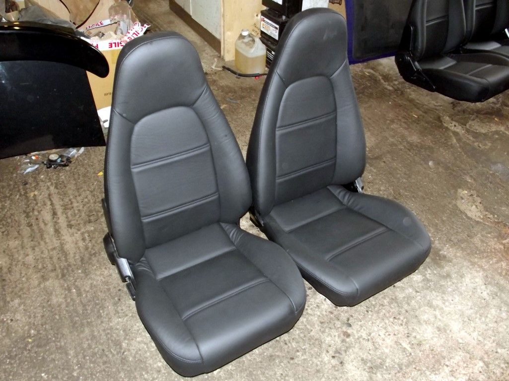Seats Mazda Mx 5 Mk2 Pair In New Black Leather High Back